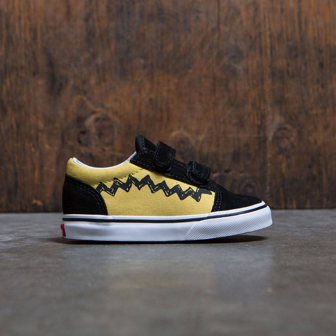 vans yellow and black. vans x peanuts toddlers old skool v - charlie brown (yellow / black) yellow and black