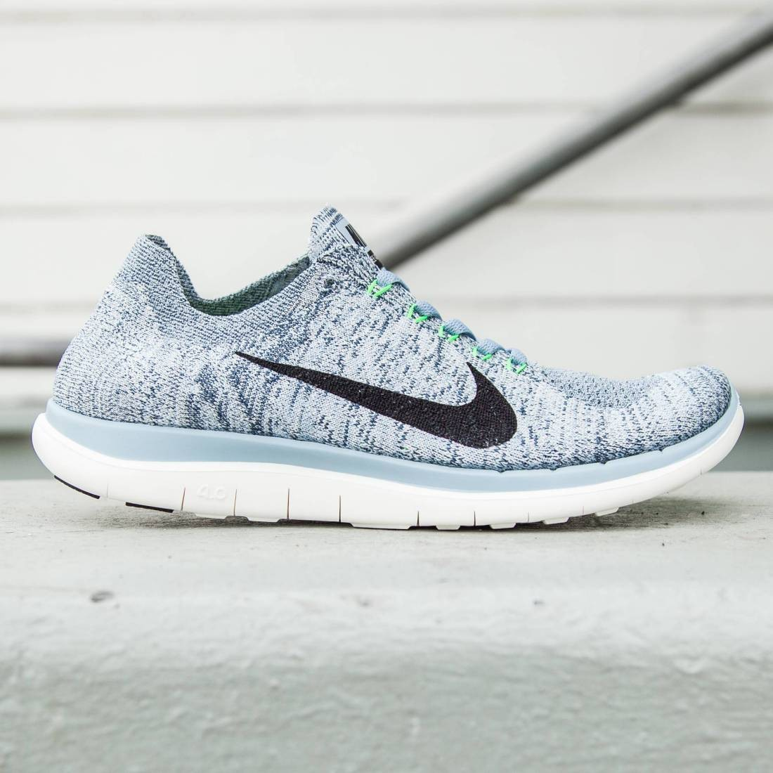 Nike Free 4.0 Flyknit Blue Grey/Sail/Voltage Green/Black