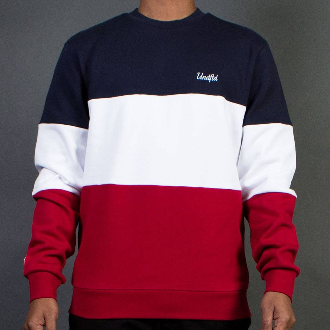 Undefeated Men Paneled Fleece Crew Sweater red white blue
