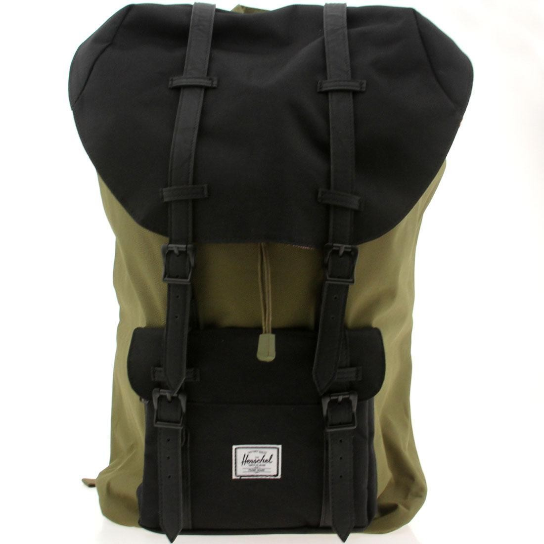 cb725309f7f Herschel supply co Little America Backpack (olive   army   black pu)