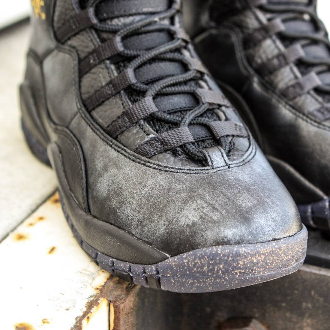 ... Air Jordan Retro 10 Big Kids (black   dark grey   metallic gold   black  ... 646d46bce